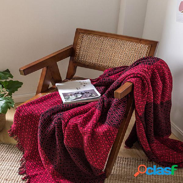 Contraste cor grid tassel knitted throw blanket autumn spring soft cobertor de dormir cobertor de sofá cobertor de joelho