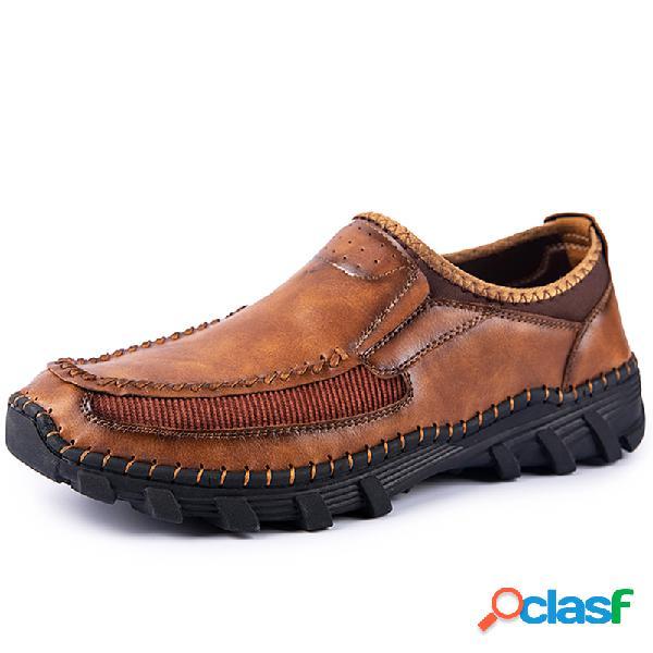 Couro de microfibra masculino costura costuras à mão deslizamento em sapatos casuais