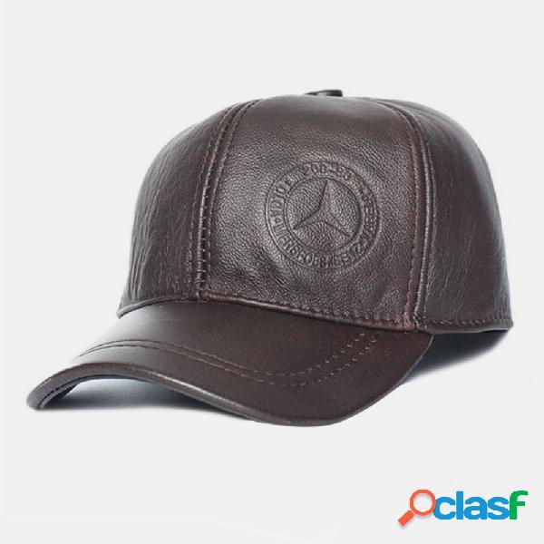 Homens couro genuíno cor sólida orelha protegido plus beisebol espesso casual chapéu