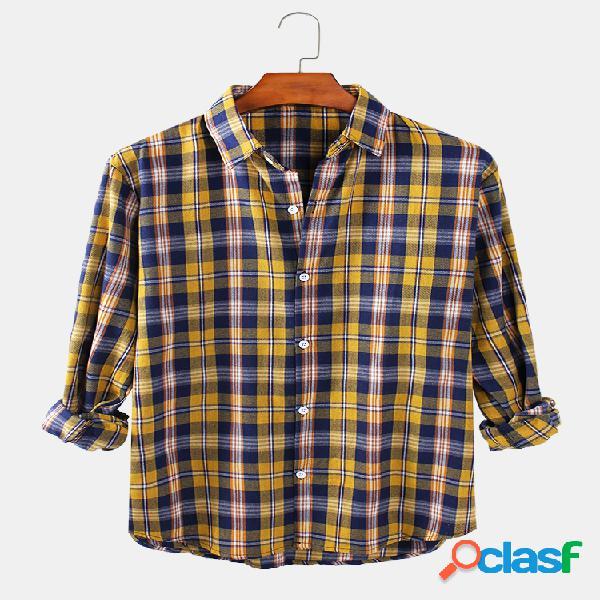 Homens xadrez solto fit lapel collar casual camisa manga longa