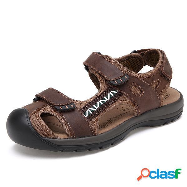Sandália masculina de couro com biqueira fechada moda praia sapatos
