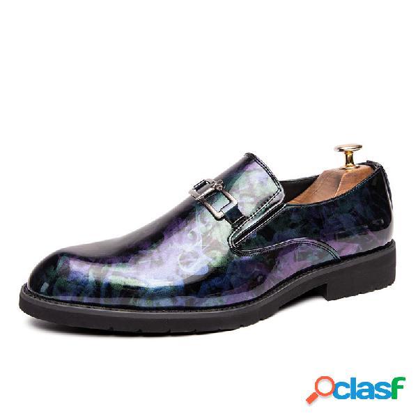 Sapatos elegantes de couro de microfibra masculino resistente a deslizamento