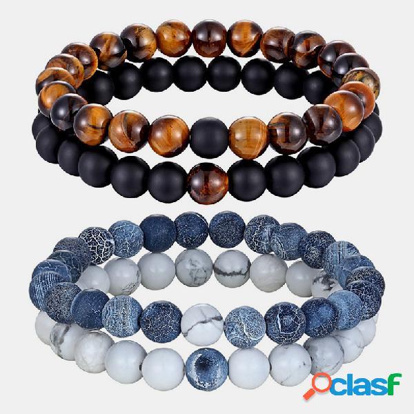 2 unidades / conjunto de pedra natural combinando com pares pulseiras de contas de ágata pedra vulcânica homens mulheres joias presente