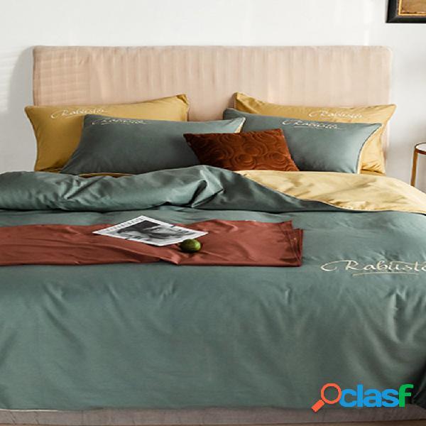 4 unidades de algodão estilo nórdico bordado longo grampo de algodão leve e luxuoso lençol de sarja capa de edredon