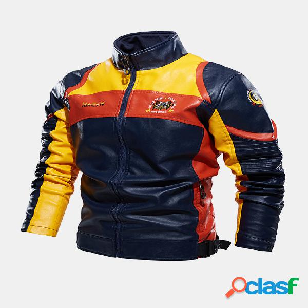 Bloqueio de cores masculino para motocicleta padrão jaquetas com colarinho de couro pu estampado traseiro
