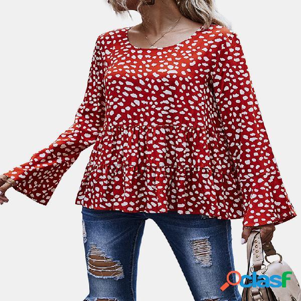 Blusa casual de manga comprida estampada com decote em o para mulheres
