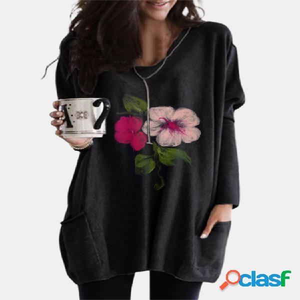Blusa de bolso feminina com estampa flor de manga comprida com decote em v