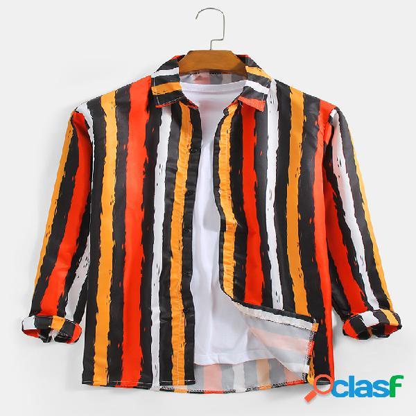 Camisas casuais de manga comprida masculina de algodão multicolorido com listra vertical