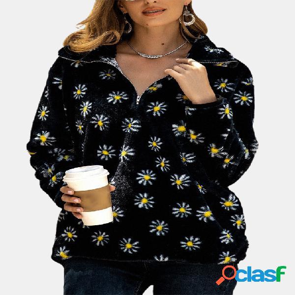 Camisola de manga comprida com zíper com bolso frontal impresso daisy flower para mulheres