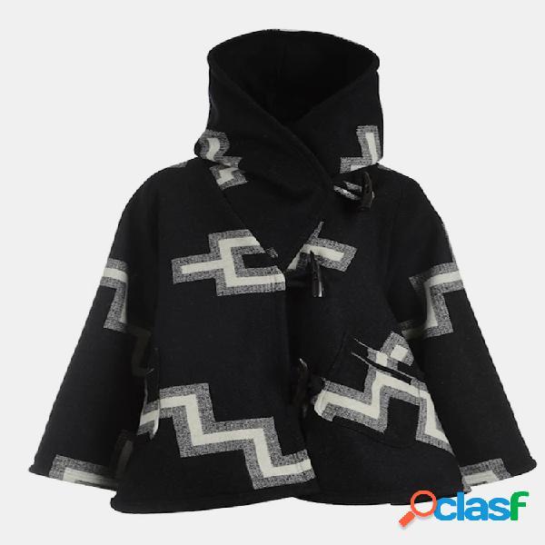 Casaco casual com capuz de manga comprida estampa geométrica para mulheres