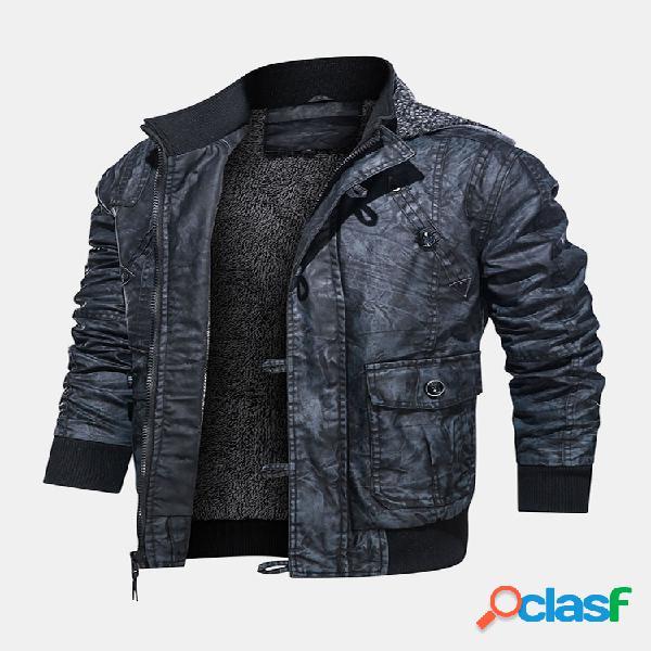Casacos casacos casacos com capuz em couro pu masculino para motocicleta com forro de bolso