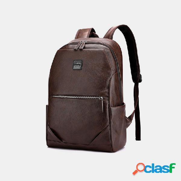 Laptop couro pu masculino grande capacidade 15.6 polegadas laptop bolsa mochila multifuncional