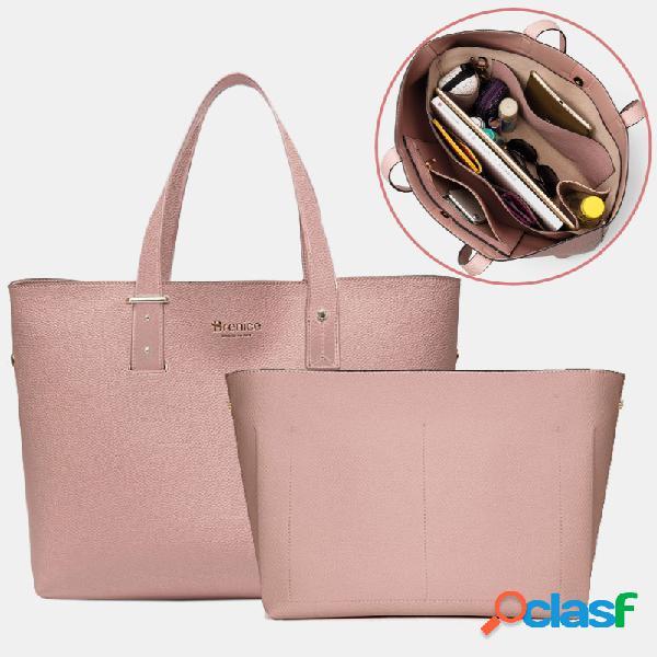 "Mulheres 2 pcs 15,6 ""laptop grande capacidade múltiplos bolsos chave removível ombro multifuncional bolsa bolsa bolsa"