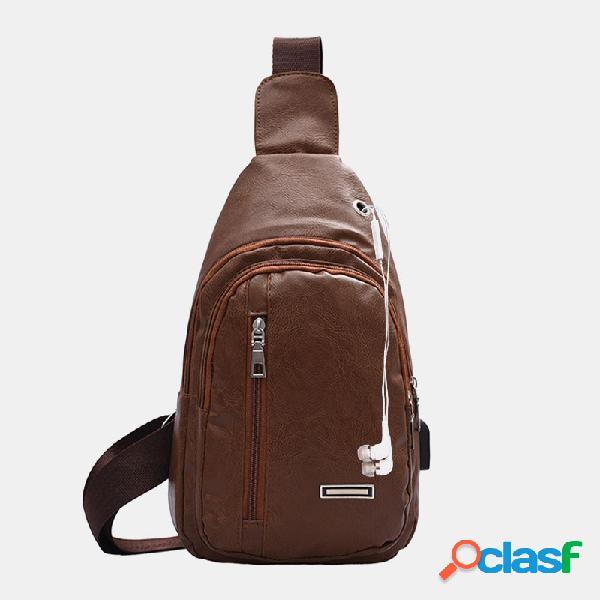 Orifício para fone de ouvido masculino de couro pu multi-transporte à prova d'água crossbody bolsa peito bolsa sling bolsa