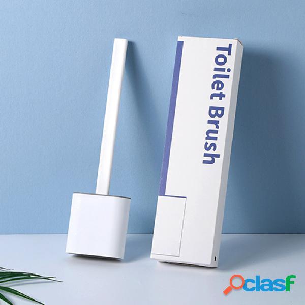 Revolucionário silicone sanita flexível escova com lavador de suporte escovas sanita banheiro fixada na parede escova