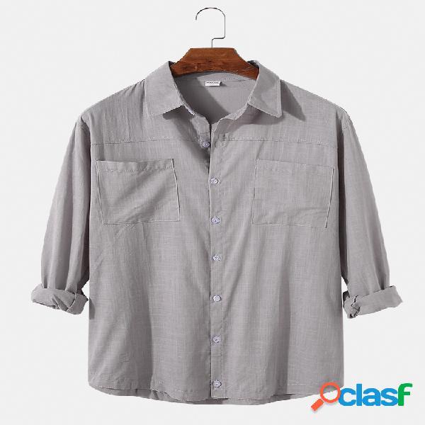 Camisas de manga comprida masculina de linho de algodão liso bolsos duplos lapela