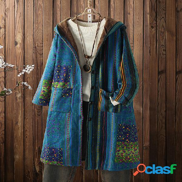 Jaqueta de lã com estampa vintage de manga longa plus tamanho com capuz e bolsos