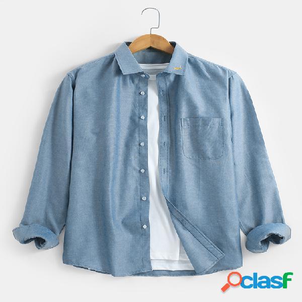Lapela masculina de cor sólida bordado casual fit algodão manga longa camisas