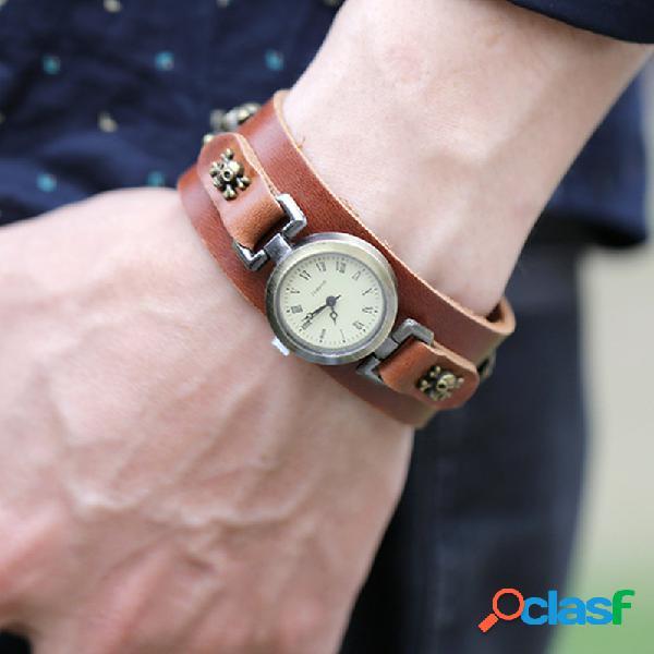 Relógio vintage com pulseira de couro de vaca caveira rivet flower multi-layer unisex quartz watch