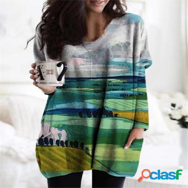 Blusa casual para mulheres com decote em v de manga comprida solta estampa paisagem