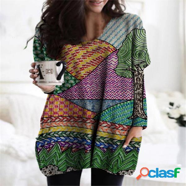 Blusa para mulheres com estampa multicolorida de manga comprida com decote em v