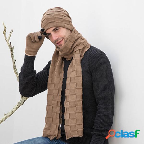 Conjuntos de 2/3 peças de cor sólida para homens, moda casual, lã chapéu cachecol gorro luvas de dedo inteiro