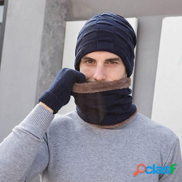 Men 2 / 3pcs plus veludo mantenha aquecido inverno proteção pescoço cachecol cachecol luvas de dedo inteiro de malha chapéu gorro