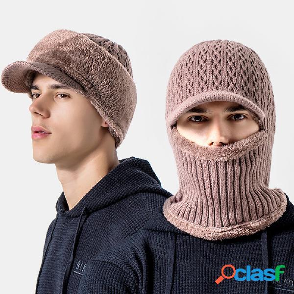 Protetor de cabeça de proteção do pescoço ao ar livre para homens plus de veludo à prova de vento para andar ao ar livre chapéu gorro