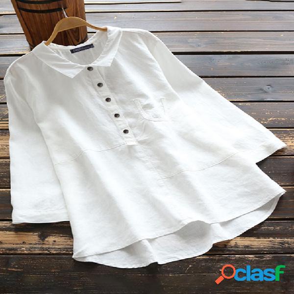 Blusa casual de algodão cor sólida camisa lapela colarinho manga comprida