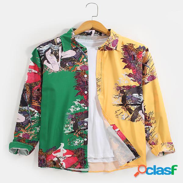 Camisas de manga comprida masculina contrastada patchwork estilo nacional impressão lapela colar