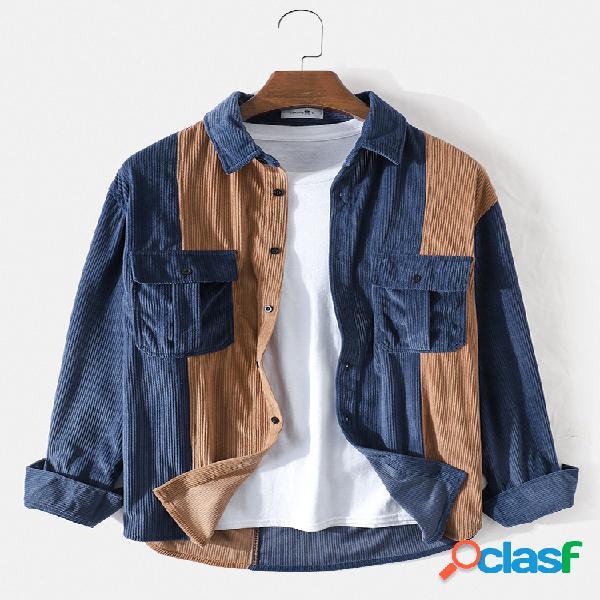 Camisas de manga comprida masculina patchwork de veludo cotelê cargo bolso duplo lapela