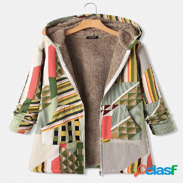 Casaco com capuz e zíper com estampa geométrica de manga comprida e bolso
