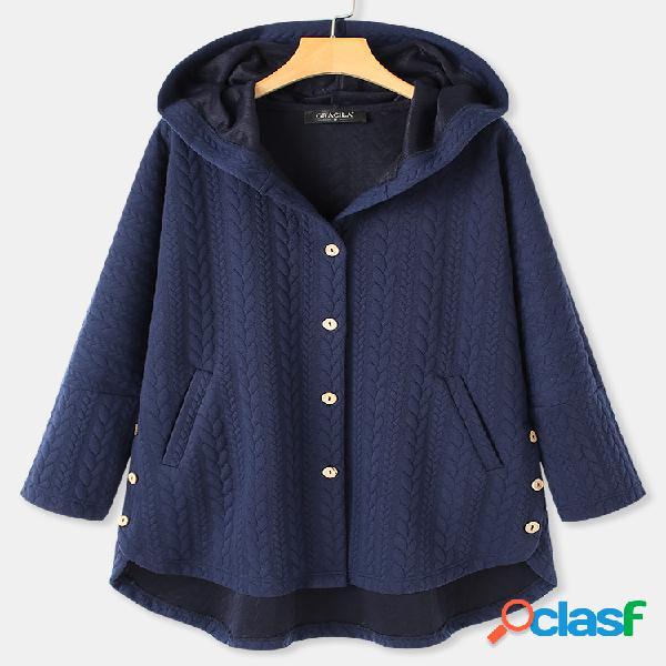 Casaco jacquard de manga comprida com capuz de cor sólida para mulheres