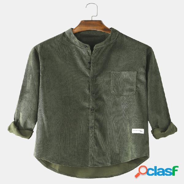 Masculino algodão vintage cor sólida casual ajuste posto gola manga longa camisas com bolso