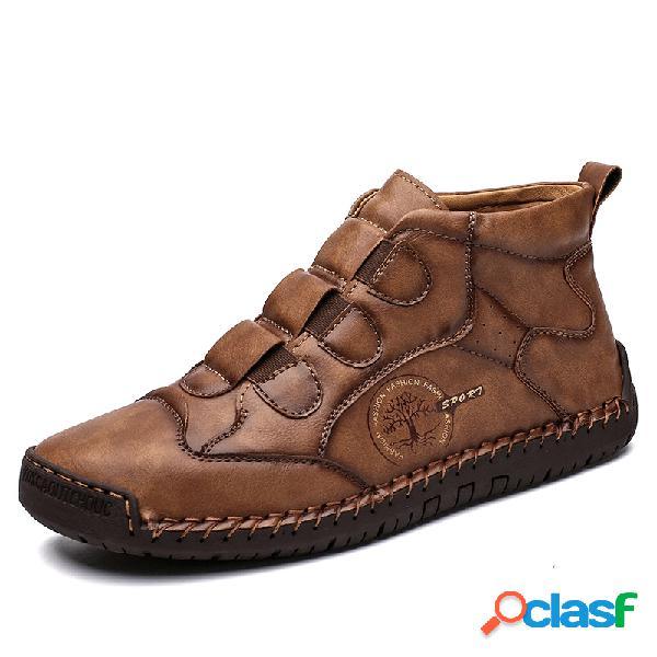 Masculino, costura à mão, deslizamento elástico em botas de couro soft