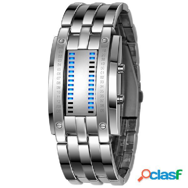 Relógio fashion masculino com exibição luminosa de data à prova d'água creative led relógio digital completo de aço