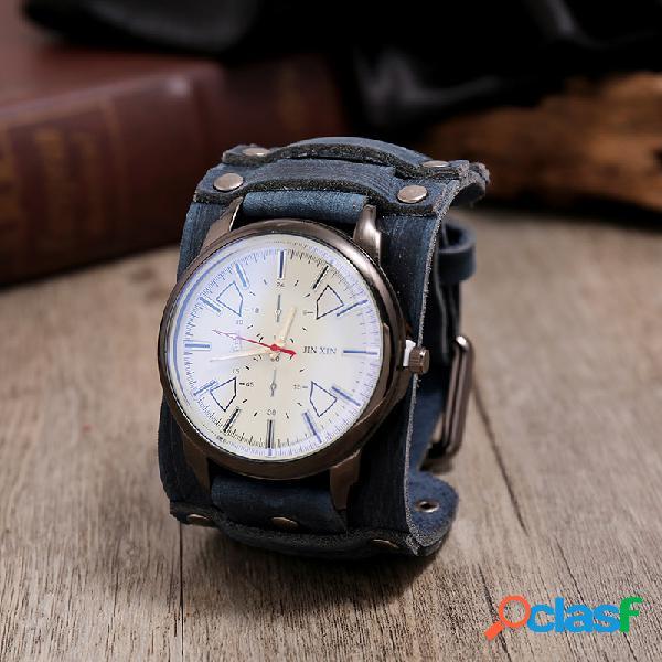 Relógio vintage pulseira de couro de vaca ajustável banda relógio masculino de quartzo