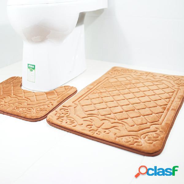 Tapetes de banheiro impressos em 3d com padrão de lã francesa banheiro conjunto de duas peças de banheiro