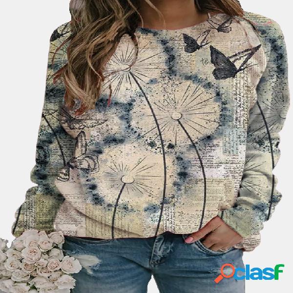 Camiseta feminina com decote em o com estampa de borboleta florida