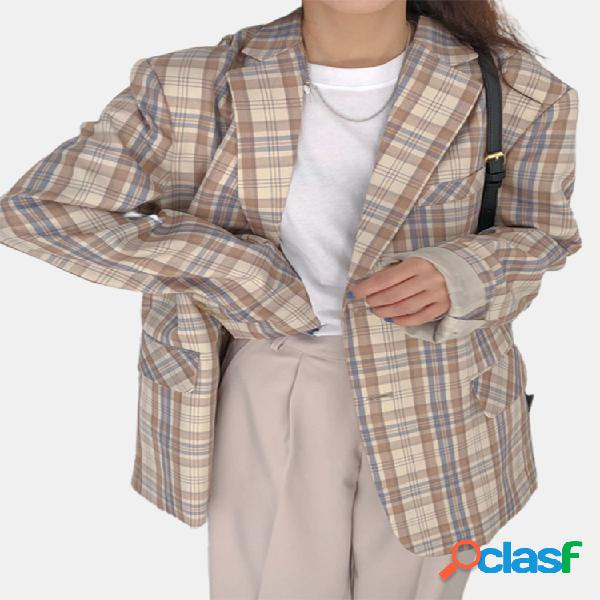 Casaco feminino com estampa xadrez de cor contrastante manga comprida