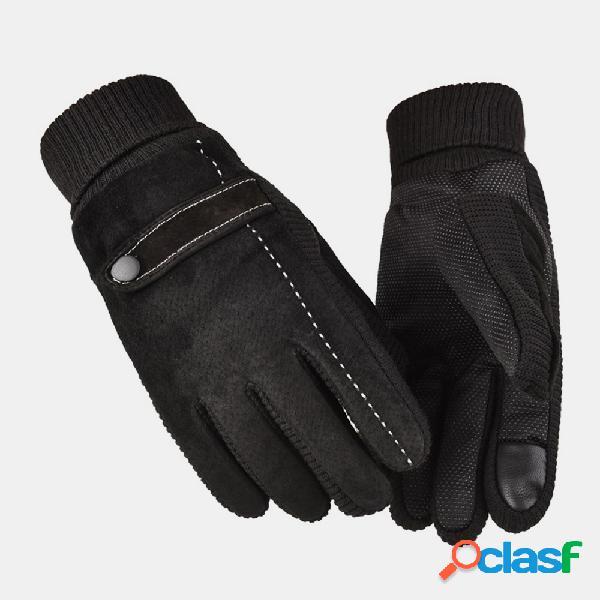 Luvas de couro masculino plus de veludo grosso tela tocável para dirigir motocicleta à prova de vento para manter o calor