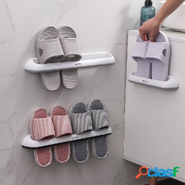 Banheiro rack para chinelos rack para armazenamento de sapatos de plástico na parede rack simples para duas fileiras rack para chinelos