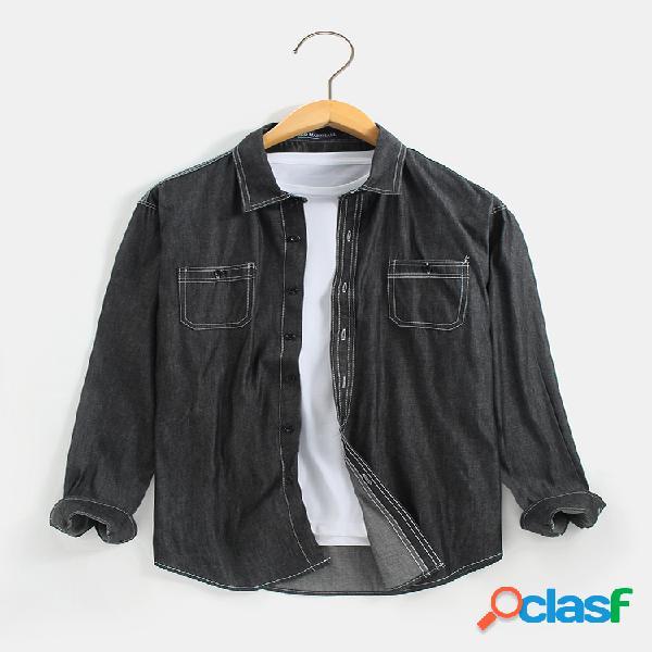 Camisas de manga comprida masculina 100% algodão com bolsos duplos sólidos