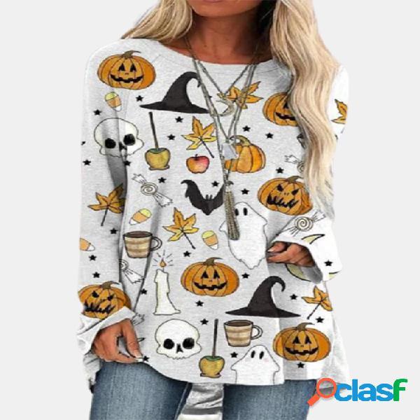Camiseta feminina de manga comprida com decote em o com estampa de halloween