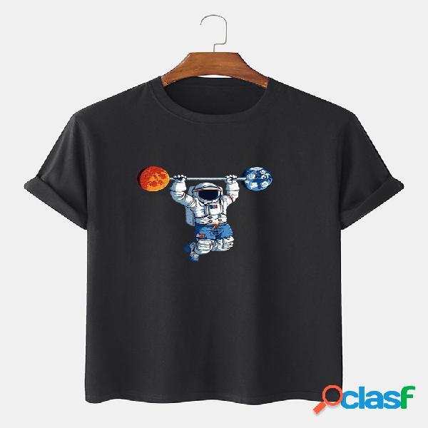 Camiseta masculina 100% algodão cartoon astronauta estampada solta e fina em volta do pescoço