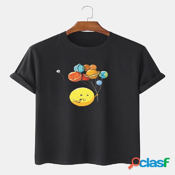 Camiseta masculina 100% algodão cartoon planet impressão larga solta respirável fina