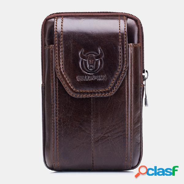 Edc couro genuíno telefone com zíper vintage bolsa cintura bolsa para negócios bolsa