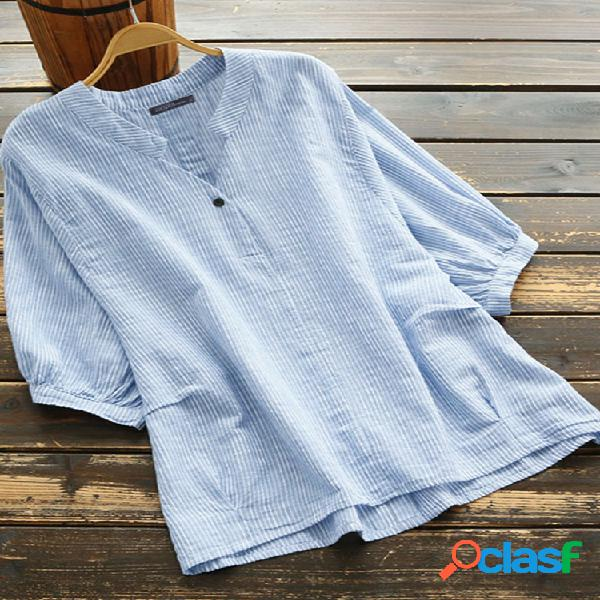 Meia manga estampa listrada plus tamanho camisa para mulheres