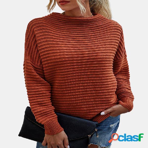 Camisola de manga comprida de gola alta de cor sólida para mulheres