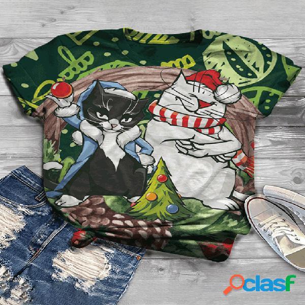Cartoon cat com estampa de manga curta com decote em o para mulheres